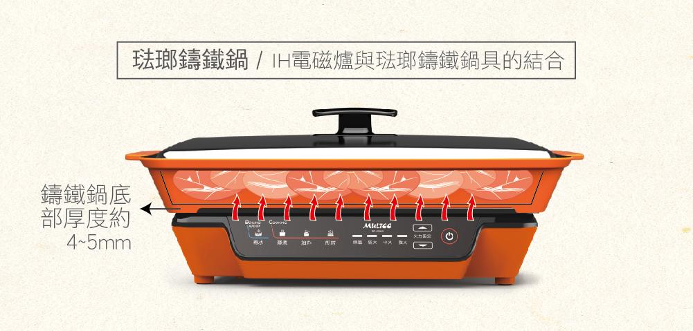IH智慧電磁爐+琺瑯鑄鐵鍋,打造無廚房料理的高效率烹飪組