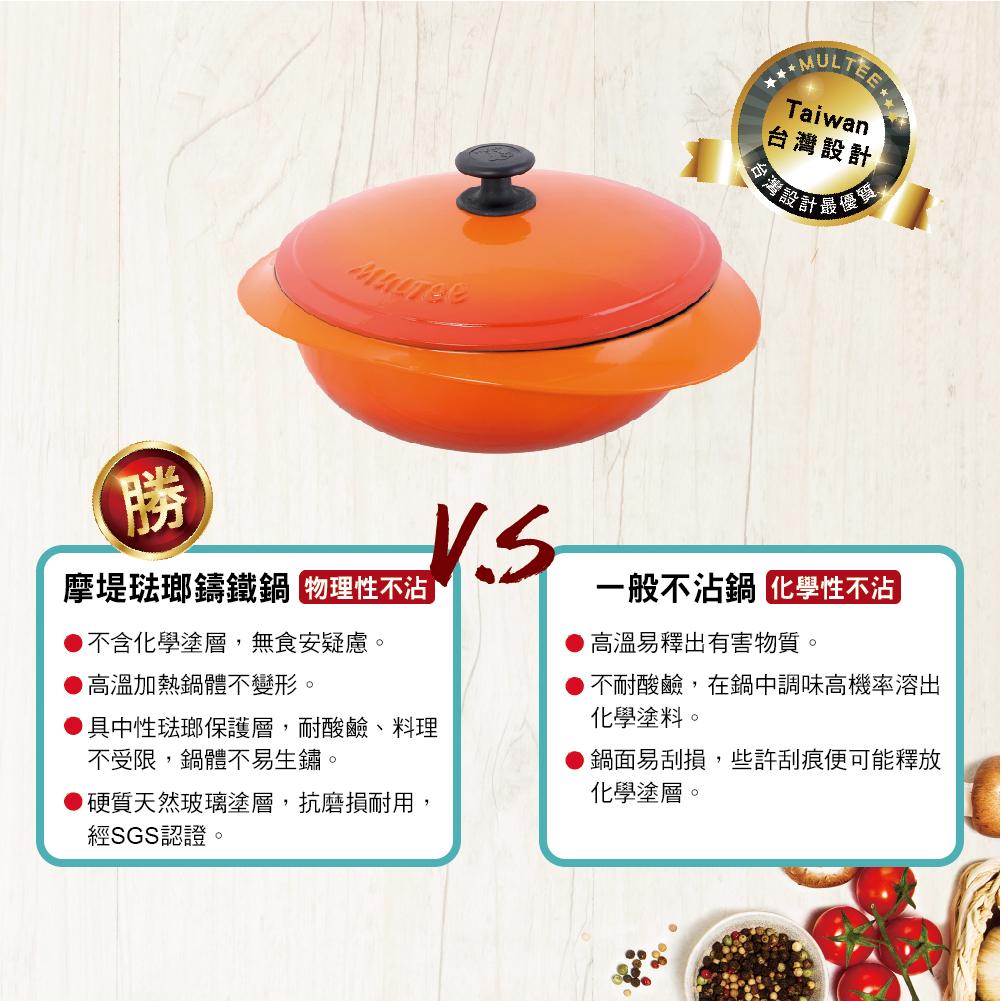 使用琺瑯鑄鐵鍋烹飪,可在熱鍋熱油的狀況下,具物理性不沾效果,較有一般不沾鍋的化學性不沾安全許多