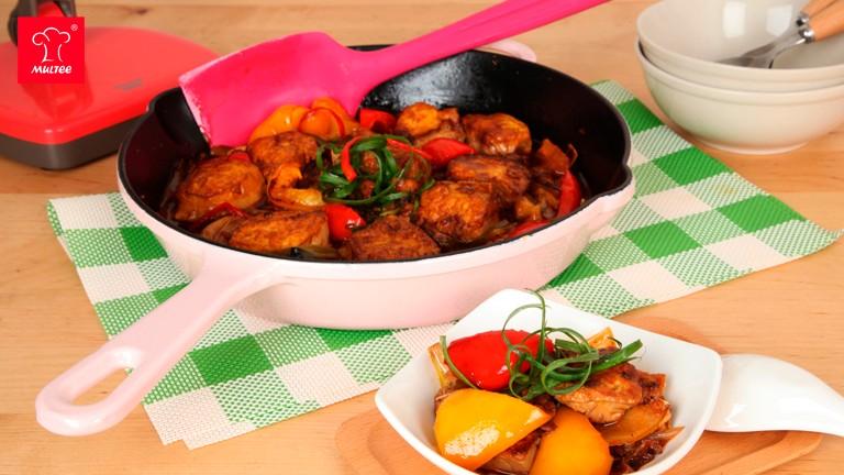 摩堤食譜25cm鑄鐵單柄煎鍋-紅燒豆腐食譜做法
