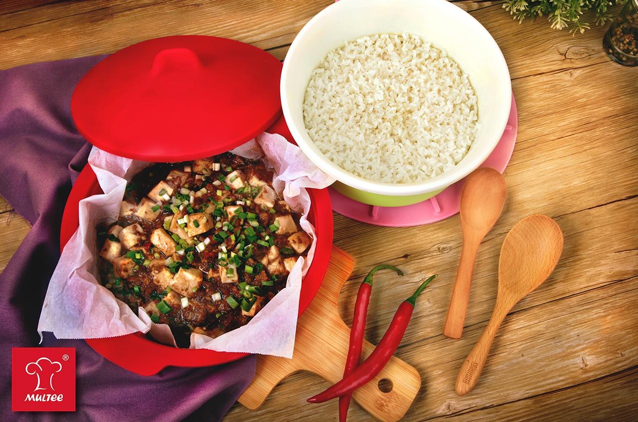【摩堤MULTEE─食譜】麻婆豆腐燴飯│20cm矽晶蒸籠組+多功能料理碗